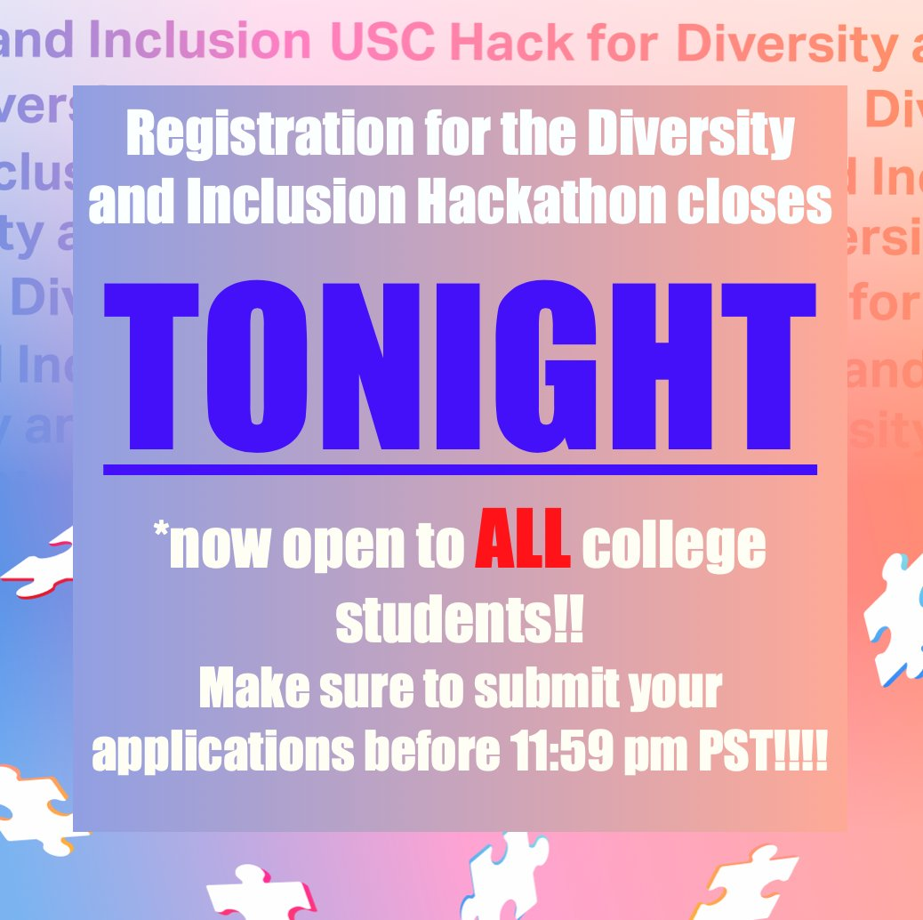 Hispanics make up 16% of the workforce, but only 7% of all STEM workers. Improve STEM diversity and take your opportunity at HackSC's Diversity & Inclusion hackathon. Applications CLOSE TONIGHT: https://t.co/edrnp63GeM !!!! #diversityinSTEM #STEM #hackathon #coding #university https://t.co/FqAG5hoex3