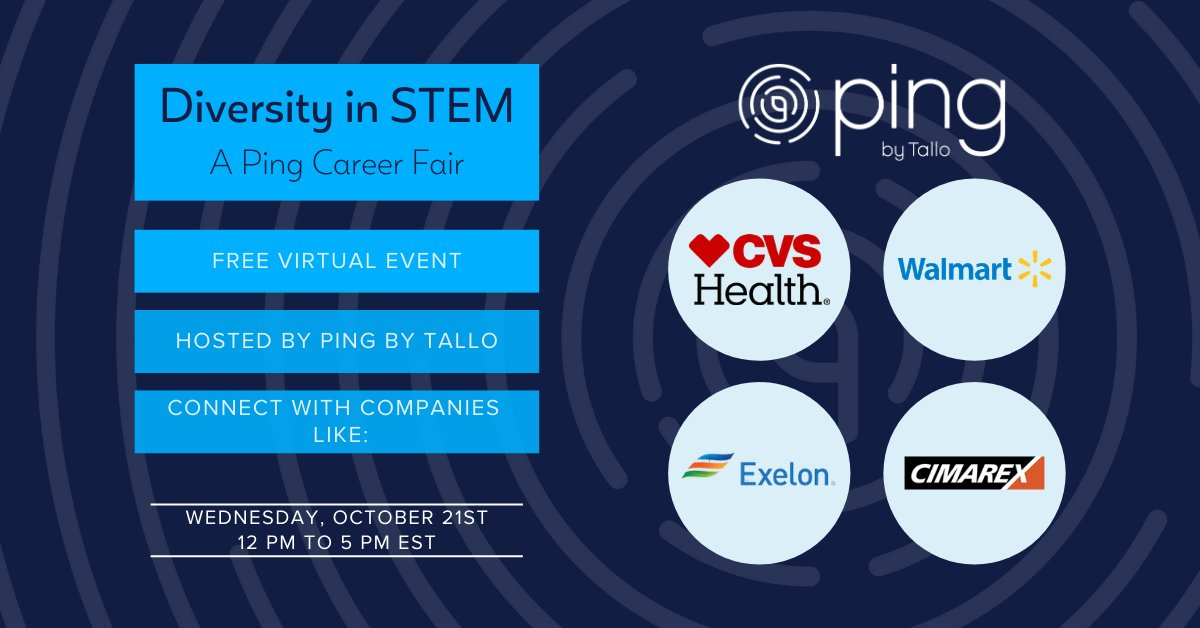 Do you know someone who wants a #career in #STEM & a #diverseworkplace? #PingbyTallo is hosting a #DiversityinSTEM career fair on Oct. 21! Don't miss the chance to learn all about #careersinSTEM at exciting companies! Register for #FREE here: https://t.co/E7rbbw5FvP https://t.co/ActbV7gKwB