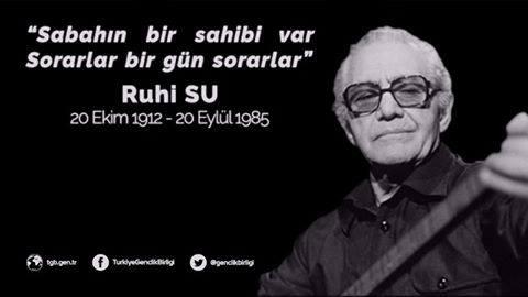 Doğum gününde saygıyla... İnsan olmak suçu suçların en güzeli en iyisi en haklısı en doğrusu olmalı ve herkes o suçu ömrü boyunca işlemeli. * Ruhi Su * D: 20. Ekim. 1912 -Van Ö: 20 Eylül 1985- İstanbul Türk halk müziği sanatçısıdır. Sanatın ve müziğin filozofu, halkların bilgesi https://t.co/gUua2B0OdN