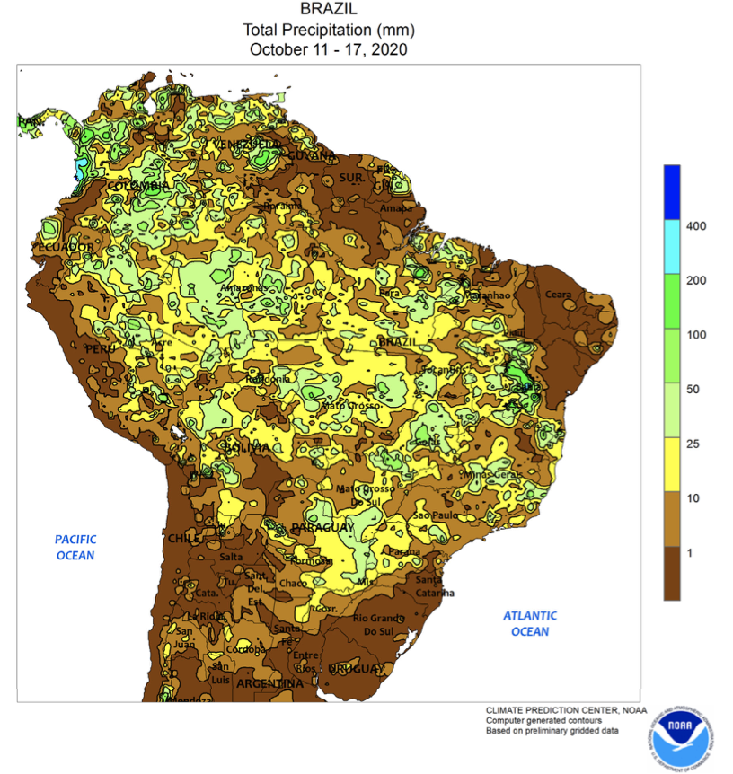 Showers helped to condition fields for summer #crop planting in central and southeastern #Brazil, though additional rain will be needed before activities can become widespread. https://t.co/vsAMXrnTEe https://t.co/5SgfMaNqkv