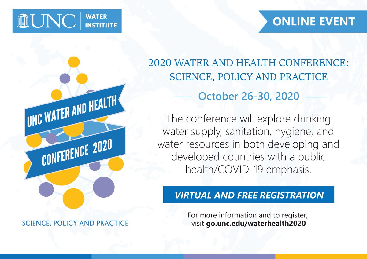 We always look forward to this one. This year you can join us online for #UNCWaterandHealth, next week!  Registration link 👇