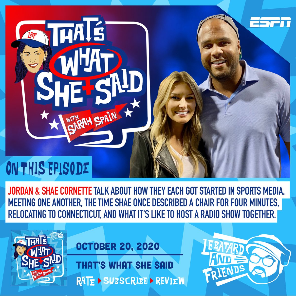 On the latest #TWSS pod, @SarahSpain  talks to @jordancornette  and @shaepeppler  about how they each got started in sports media, meeting one another along the way, the time Shae once described a chair for four minutes, and much more!   🔊 https://t.co/l70Un1p05O  #ESPNPodcasts https://t.co/EiGGd81nrH