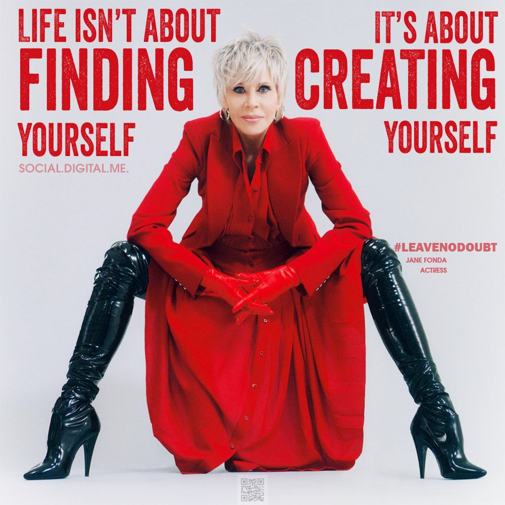 Life isn't about finding yourself. It's about creating yourself.  #leavenodoubt #letsbegreat #janefonda #actress #create #positivity #positivevibes #growth #mindset  #inspire #inspiration #inspirationalquotes #motivationalquotes #goodvibes #socialdigitalme #social #digital #me https://t.co/J1SY0oG5yY