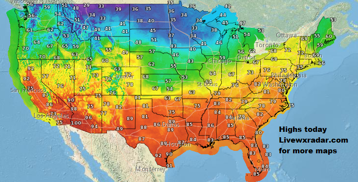 Highs for today.    Checkout    https://t.co/HNLPnb8GMF           #wx #weather #cold  #rain #storm #temps  #Freezing #cold #cooling #flooding  #nice  #lows #usa #nws #news #heat   #Wednesday   #work #week https://t.co/BiLG4tGRHy