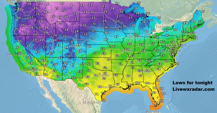 Lows for tonight.     Temps and Weather at   https://t.co/HNLPnb8GMF           #wx #weather #cold  #rain #storm #temps  #Freezing #cold #cooling #flooding  #nice  #lows #usa #nws #news #heat   #Wednesday   #work #week https://t.co/5nAte3xVNL