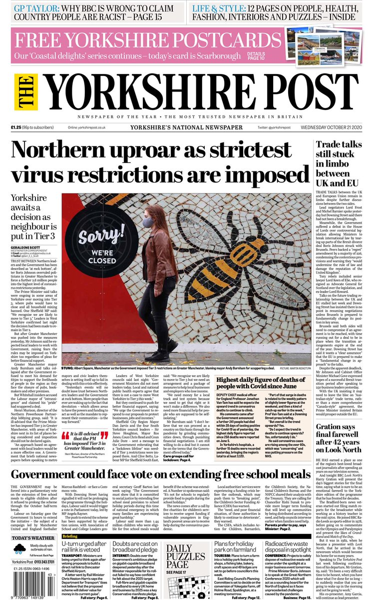 Wednesday's Yorkshire Post: Northern uproar as strictest virus restrictions are imposed #TomorrowsPapersToday