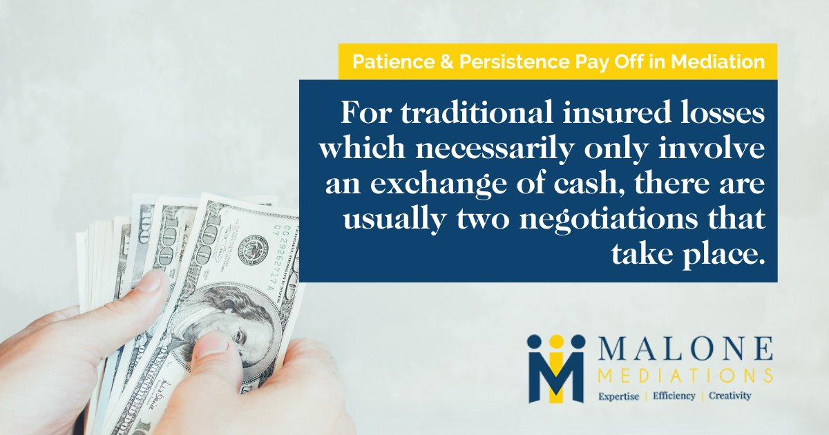 For traditional insured losses which necessarily only involve an exchange of cash, there are usually two negotiations that take place. The first is to each side's predetermined goal. Most of the time, those goals do not overlap. #Mediation #Negotiation #Arbitration https://t.co/uxgXjm7jq4