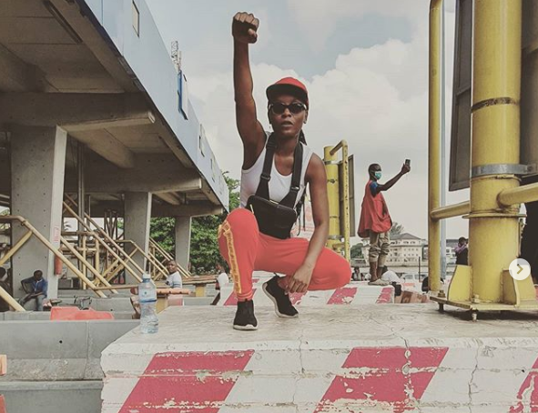 The heroic DJ Switch and others helped protesters shot at the Lekki toll gate. She documented important evidence about the attack including the name of the attackers' commanding officer.   DJ Switch must be protected. Follow her on insta at djswitch_. #EndSARS https://t.co/QJh8kVRPx0