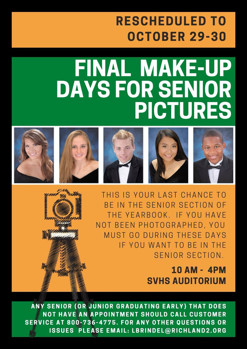 Seniors, this is the final make-up days for senior pictures that will appear in the 2021 Yearbook. If you have not been photographed, you will need to make sure you come up to Spring Valley on either October 29 or 30 between 10 am and 4 pm in the Auditorium. https://t.co/sbD5ykWGka