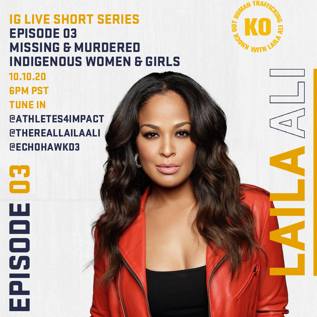 🚨 You don't want to miss this! 🚨  Today at 6pm PST @TheRealLailaAli and @echohawkd3 will discuss how Native & Indigenous communities have been disproportionately impacted by human trafficking. Tune in to @thereallailaali Instagram page to watch! #NativeTwitter https://t.co/2m52yjMmFb