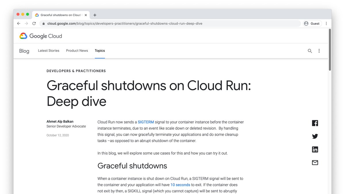 Last week we announced graceful termination support for serverless containers on Cloud Run.  I wrote an article that goes deeper into why and how to implement this, read here: https://t.co/lZ9sTjx5DA https://t.co/SMhUn9QQwp