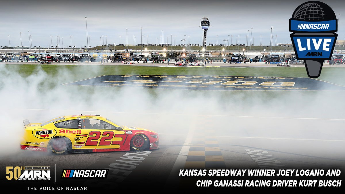 #NASCAR Live TONIGHT @ 7PM ET Join host @TheMikeBagley and you'll hear from and hear from @kansasspeedway @joeylogano and @CGRTeams driver @KurtBusch #AskMRN | #NASCARPlayoffs