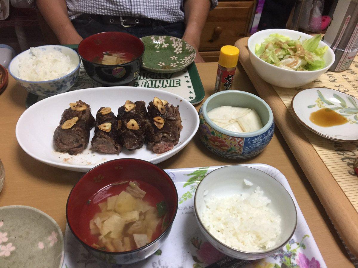 🌸#お家ごはん 🌸#クラシルレシピ から、和風ガーリックロールステーキ #久原本家あごだしつゆ を使いました。@kubara_honke #茅乃舎の湯葉のお吸いもの はホントに美味しいです。#京つけもの大安 さんの千枚漬けおやつは、#おうちコープ さんの葉とらずりんご弘前ふじ