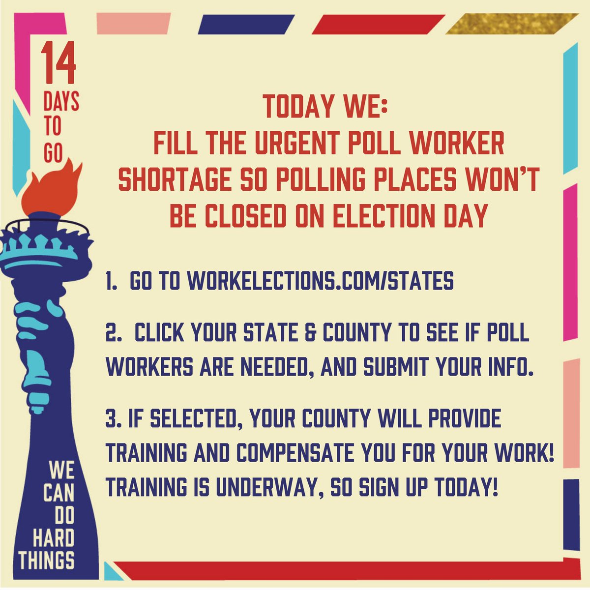 There is still a shortage of poll workers in almost every state. Today, check out https://t.co/fgyDv9VGXL to learn about the opportunities to serve in your community and join the critical infrastructure that will keep our polling places open and our democracy thriving! 💖 https://t.co/8rPZw2sCy3