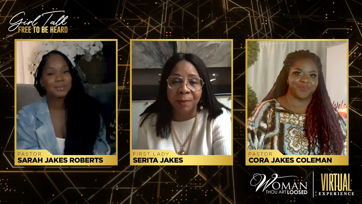 There was some much-needed Girl Talk at the Woman, Thou Art Loosed Virtual Experience! Join @FirstLadyJakes, Pastor @CJakesColeman, and Pastor @SJakesRoberts for a fun-filled time of empowering conversation. Watch #GirlTalk from #WTAL2020 at YouTube.com/TDJakesOfficial