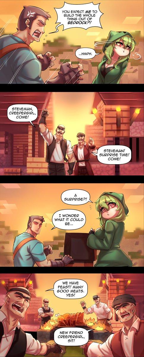 When Creeper & Minecraft Steve visited a village 💚
