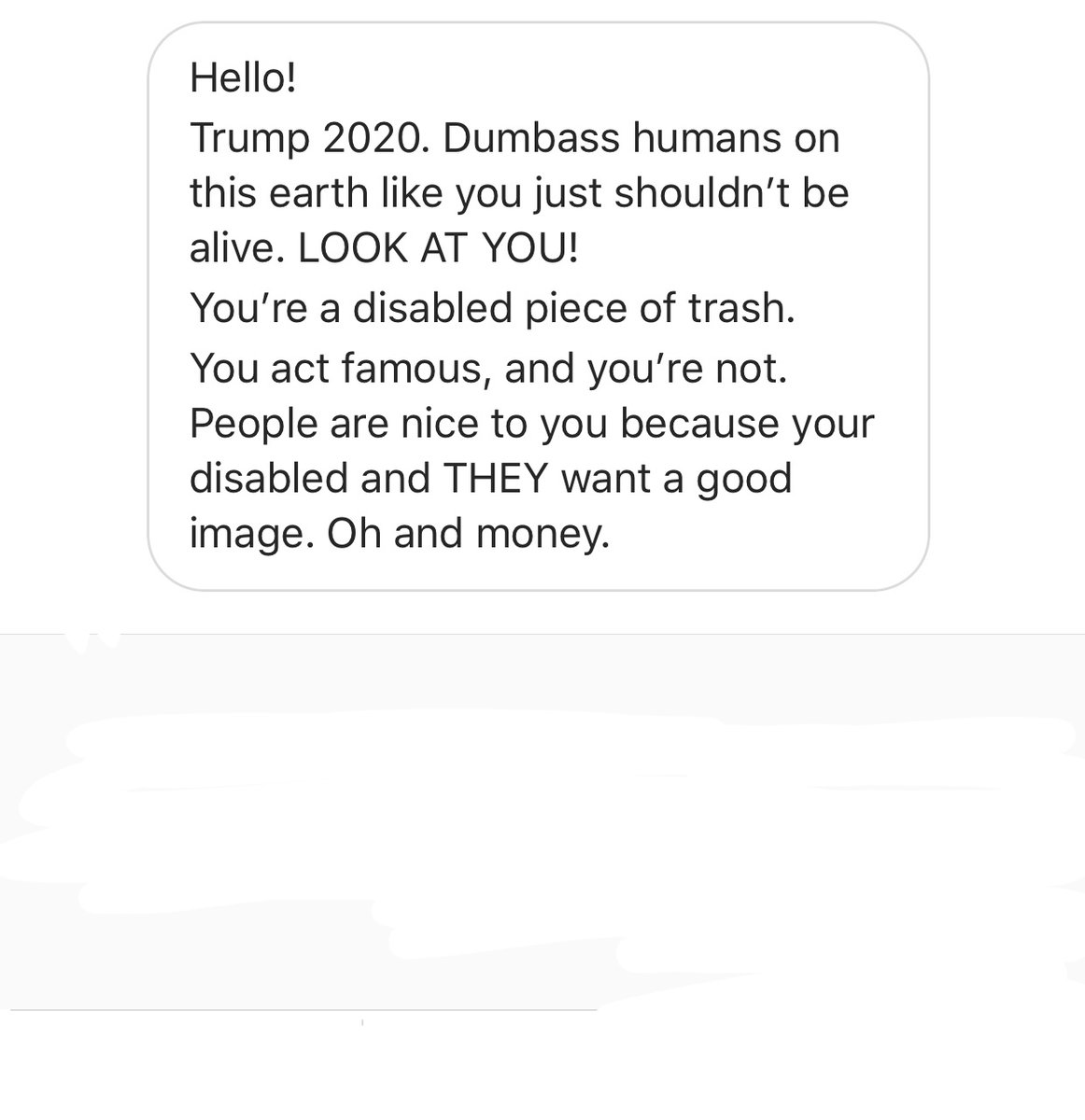 """Got this message last night. Still think politics is just a """"difference of opinion""""??? 😡😡😡 https://t.co/S7nothhSeN"""