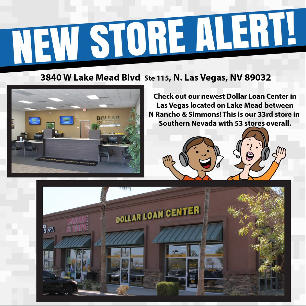 Check out our newest Dollar Loan Center in Las Vegas located on Lake Mead between N Rancho & Simmons! This is our 33rd store in Southern Nevada with 53 stores overall. https://t.co/mbvTSDXBFp