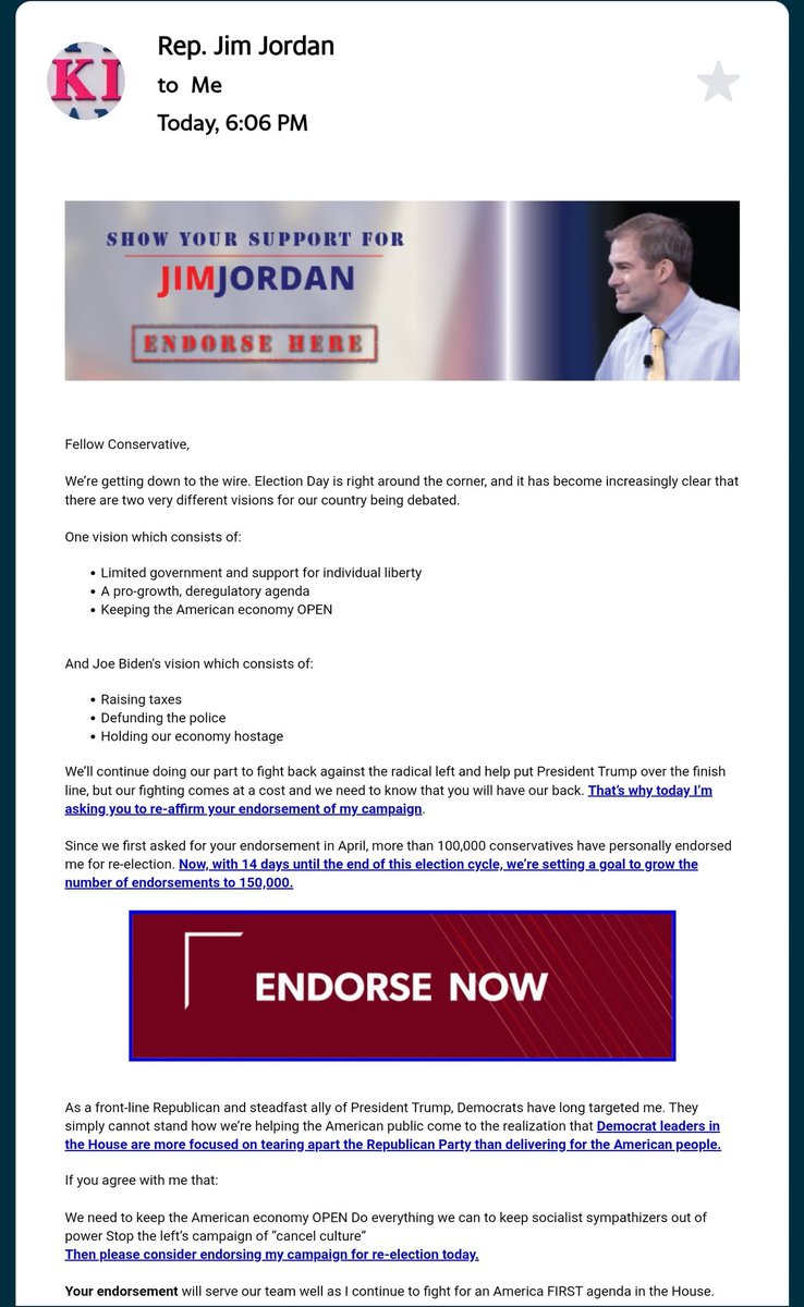 Did this dude really just purchase my email address to try and get me to vote for him.   I understand the cocky ass president.  But this has gotta stop.   #StayOutMyInbox #RepJimJordan  #AllOfYou https://t.co/JAAs10ue1f