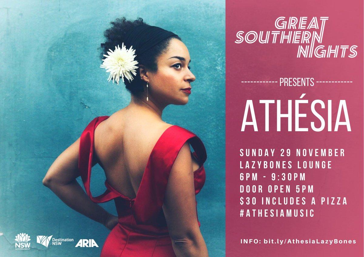 🎶NEW GIG🎶 @GreatSthNights presents Athésia, Sun 29 Nov at @LazybonesMv Tickets are limited https://t.co/QFCe73ILzp Thank You @NewSouthWales @destinationnsw @aria_official@GreatSthNights  #greatsouthernnights #ilovesydney #LoveNSW #LoveSydney #AthesiaMusic #Athesia  #COVIDSafe https://t.co/XmIrbamIZ3