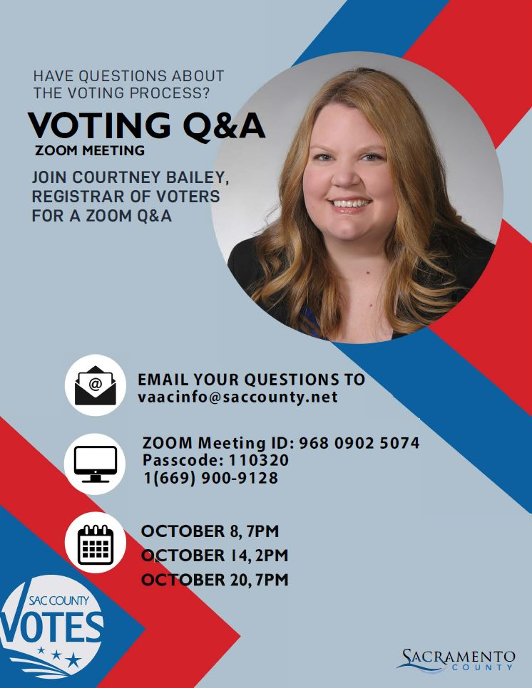Don't miss out! SacCounty Registrar of Voters Courtney Bailey-Kanelos is holding a webinar tomorrow afternoon to answer questions about voting, vote-by-mail, Vote Centers, security, tabulating – you name it! Today is the final webinar!  For more info: https://t.co/6cCNDMlpui https://t.co/ngtnIzN3ha