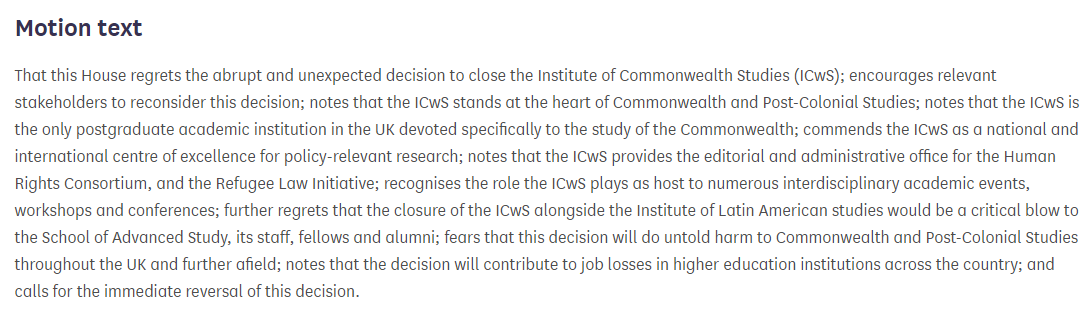 Tremendously grateful to @libdemdaisy for tabling this Early Day Motion (EDM 1064) protesting at the planned closure of the Institute of Commonwealth Studies @ICwS_SAS by @SASNews @UoLondon