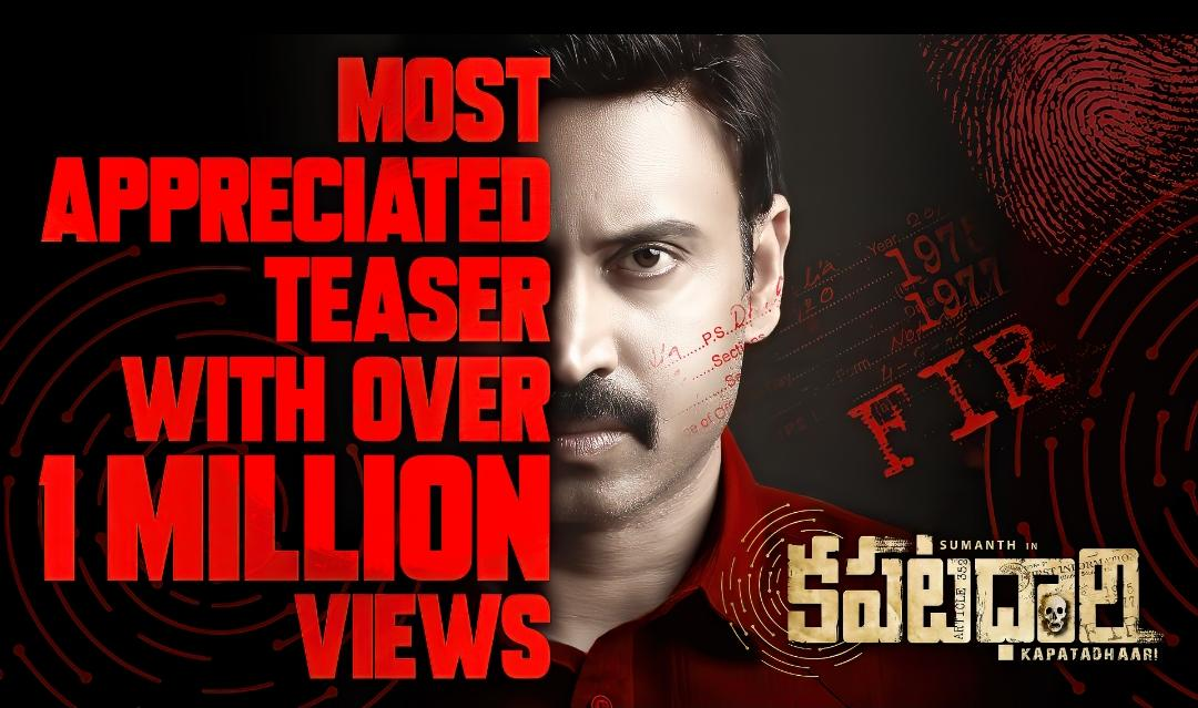 1Million Views & going strong #Kapatadhaari Teaser:   Thank you all for your overwhelming appreciation.  Super support by @iSumanth @Nanditasweta @Directorpradeep @simonkking @vamsikaka & Team 👍👍👍