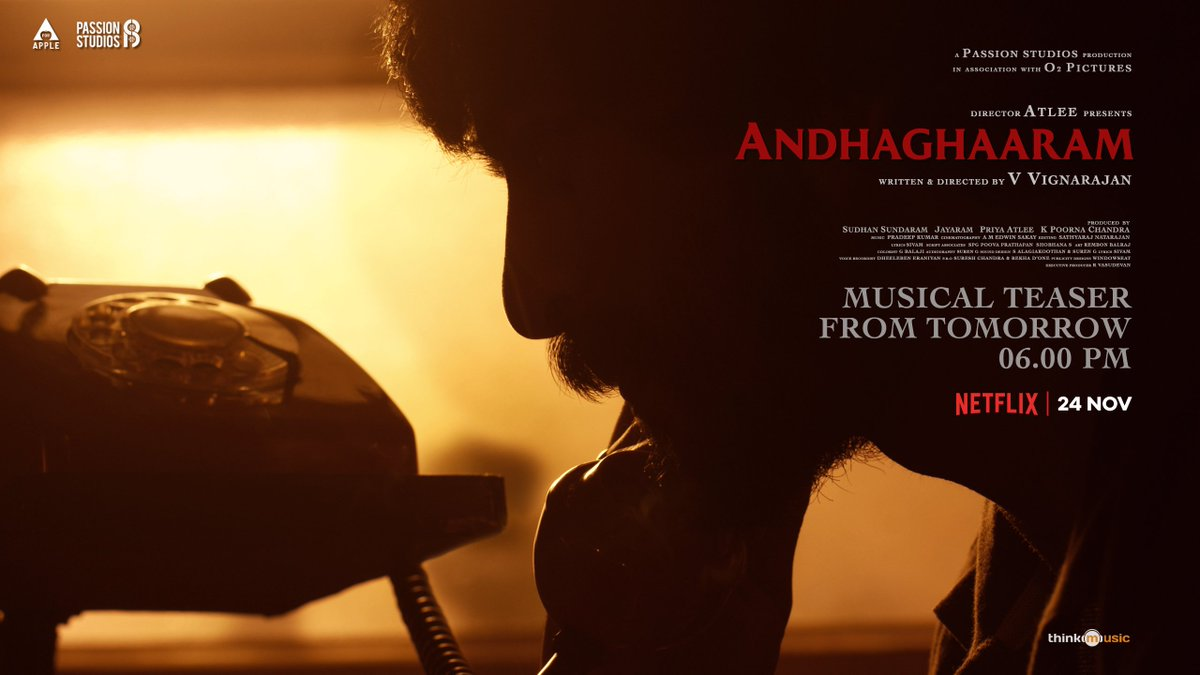 The musical teaser of first single from #Andhaghaaram -Tamil to be launched by @anirudhofficial at 6 PM tomorrow!  @Atlee_dir @aforapple_offcl @PassionStudios_ @priyaatlee @Sudhans2017 @iam_arjundas @vvignarajan #PradeepKumar @Jayaram_gj @vinoth_kishan @Poojaram22 @edwinsakaydop