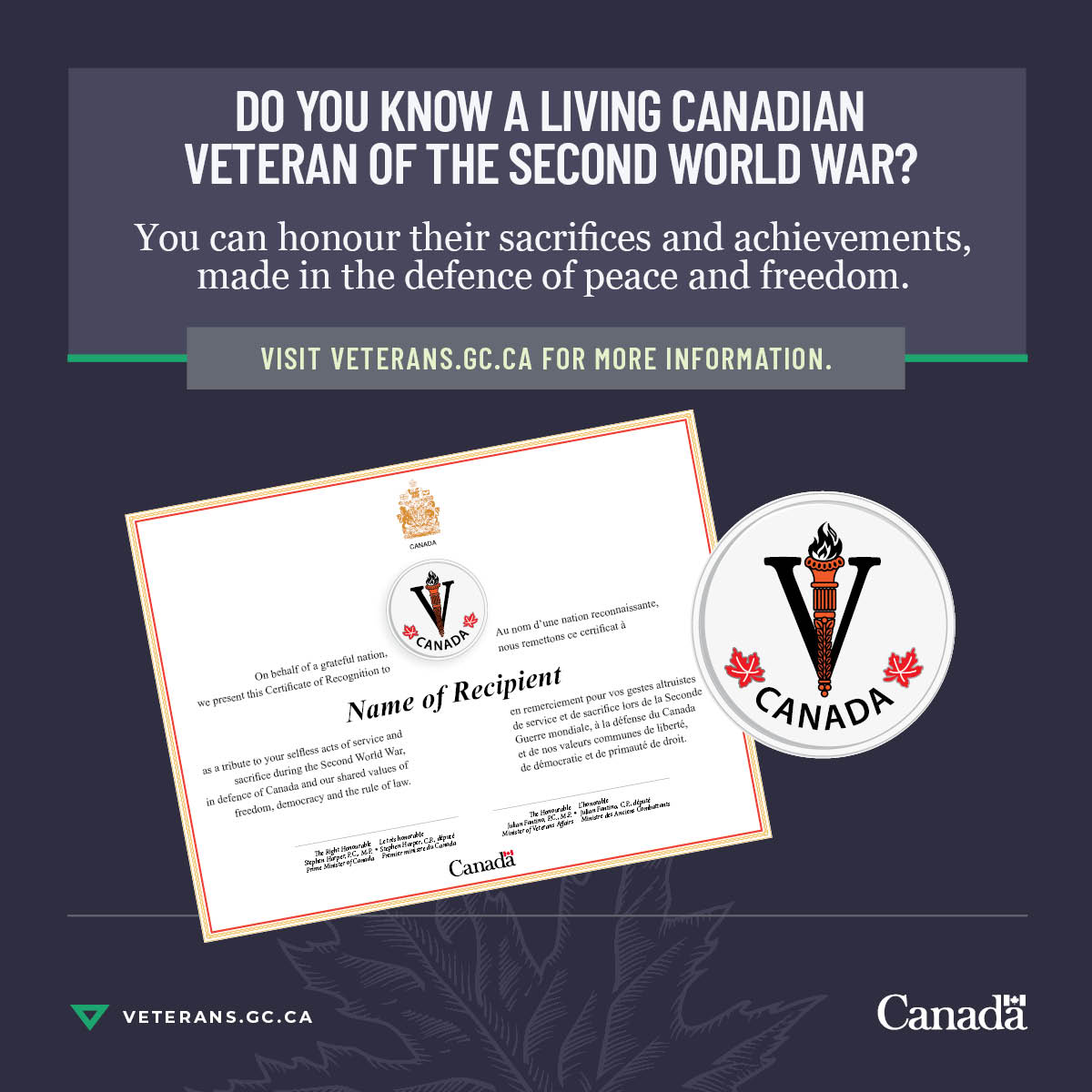 To mark the 75th anniversary of Canada's engagement in the Second World War, those were served may receive a certificate signed by the Minister of Veterans Affairs, a letter and special lapel pin from VAC. You can learn more here: veterans.gc.ca/eng/remembranc…