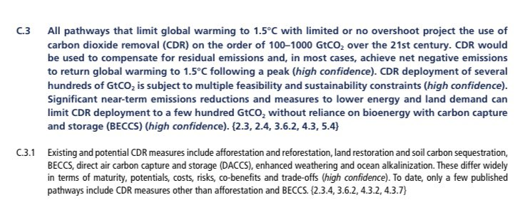 """4/Bill's 2050 goal is to pursue a """"climate neutral economy"""", where emissions are balanced by """"removals"""" Inclusion of tech solutions here implies reliance on CO2 removal tech that has """"multiple feasibility & sustainability constraints"""" per the IPCC. & See  @KevinClimate (pic2)!"""