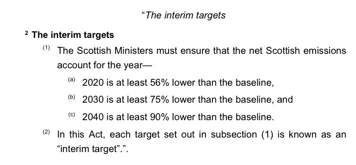 7/The carbon budgets in the Bill are not pegged to interim targets. Instead, we have a much-too-distant 2050 target & who-knows-what carbon budgets until then. Contrast with Scotland's Act, which sets a 2045 backstop date & interim targets for 2020, 2030 and 2040.
