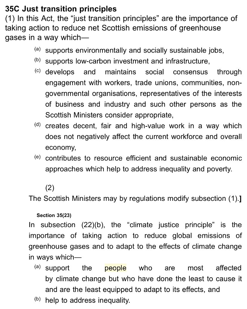 "24/ Finally, climate justice & a just transition should be central organizing principles of the Bill.Here is how ""just transition"" (not mentioned in the Climate Bill) & ""climate justice"" (mentioned only once & undefined) are defined in Scotland's Climate Act. End/"