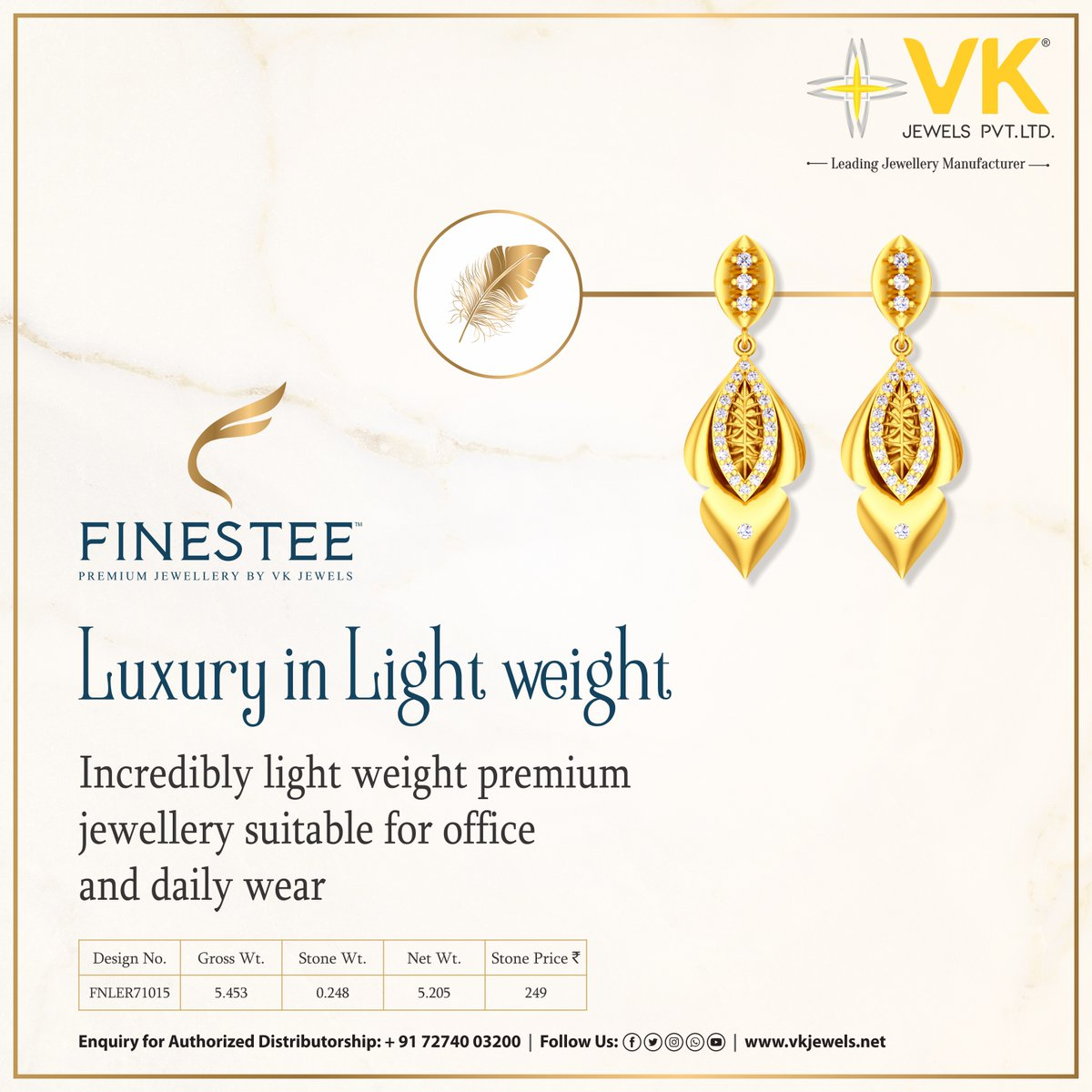 Finestee presents exclusive and high-end jewellery that is light as feather and apt for work and play. Download our app to explore collection and place an order.   #LightWeightGoldJewellery #MillenialJewellery#BestGoldJewelery #Finestee #VKJewels