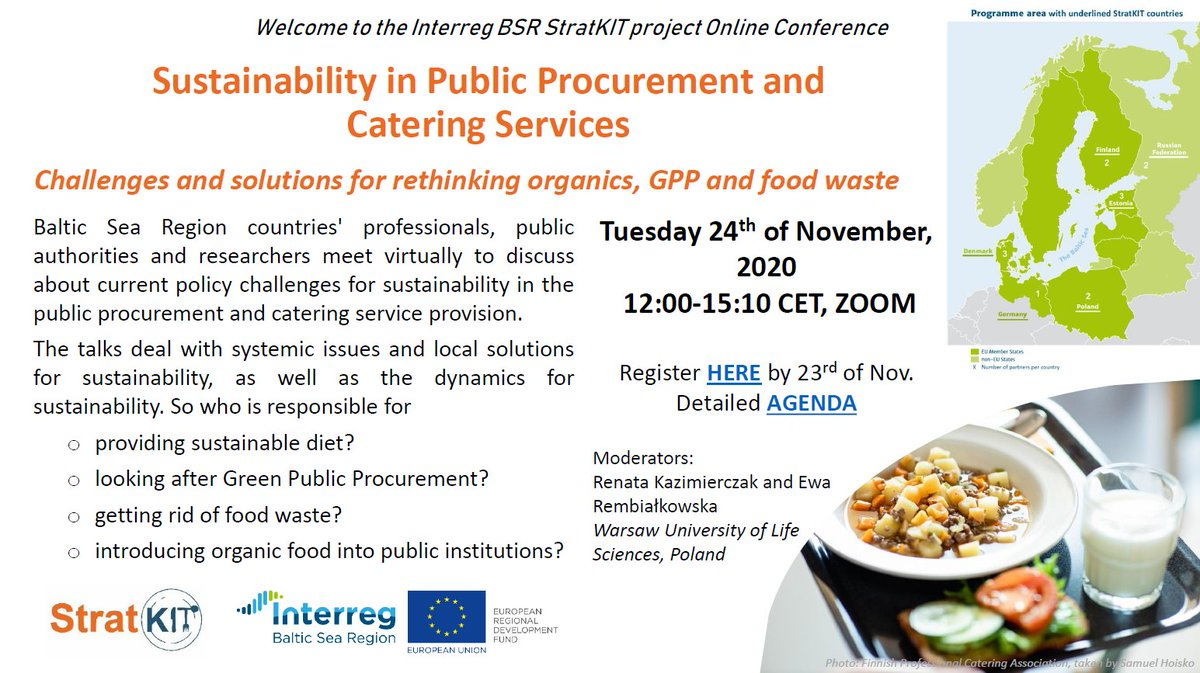 Is sustainability something you take into account when running public procurements? Join an online event on 24 November by #Interreg project @stratkit to find out about #MadeWithInterreg solutions for #GreenPublicProcurement #OrganicFood and #FoodWaste!