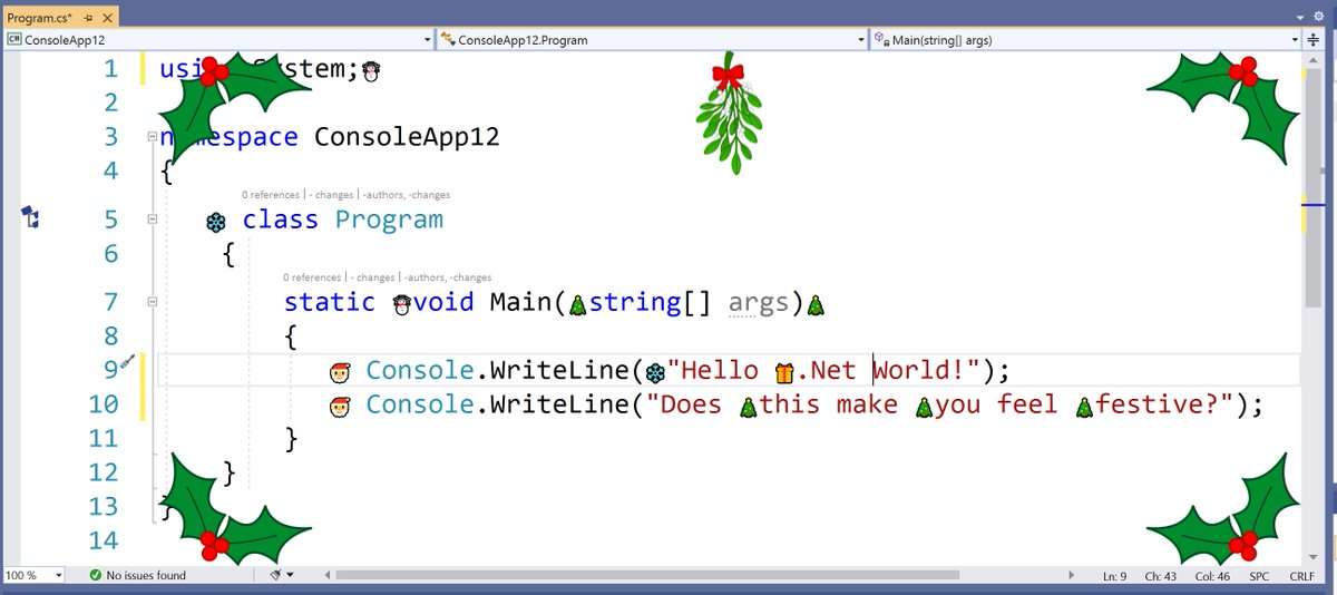 Screenshot of Visual Studio editor with holly in the corners, and images of Santa, Christmas trees, and snowflakes among the text