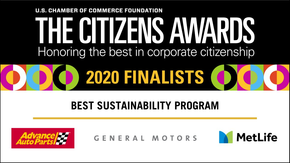 Congratulations to this year's #Citizens2020 finalists for Best Sustainability Program: @GM, @AdvanceAuto, and @MetLife! These companies are helping create a more sustainable future. Read their stories: https://t.co/FbTmho3qyq https://t.co/s6MhPhgNP5