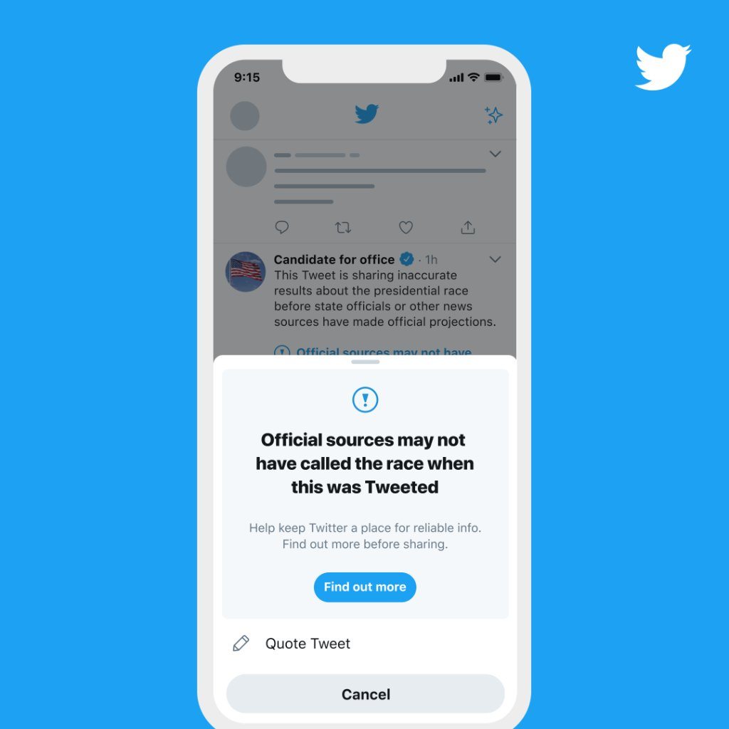 When people attempt to Retweet a Tweet with a misleading information label, they'll see a prompt pointing them to credible information before they are able to amplify it further on Twitter.