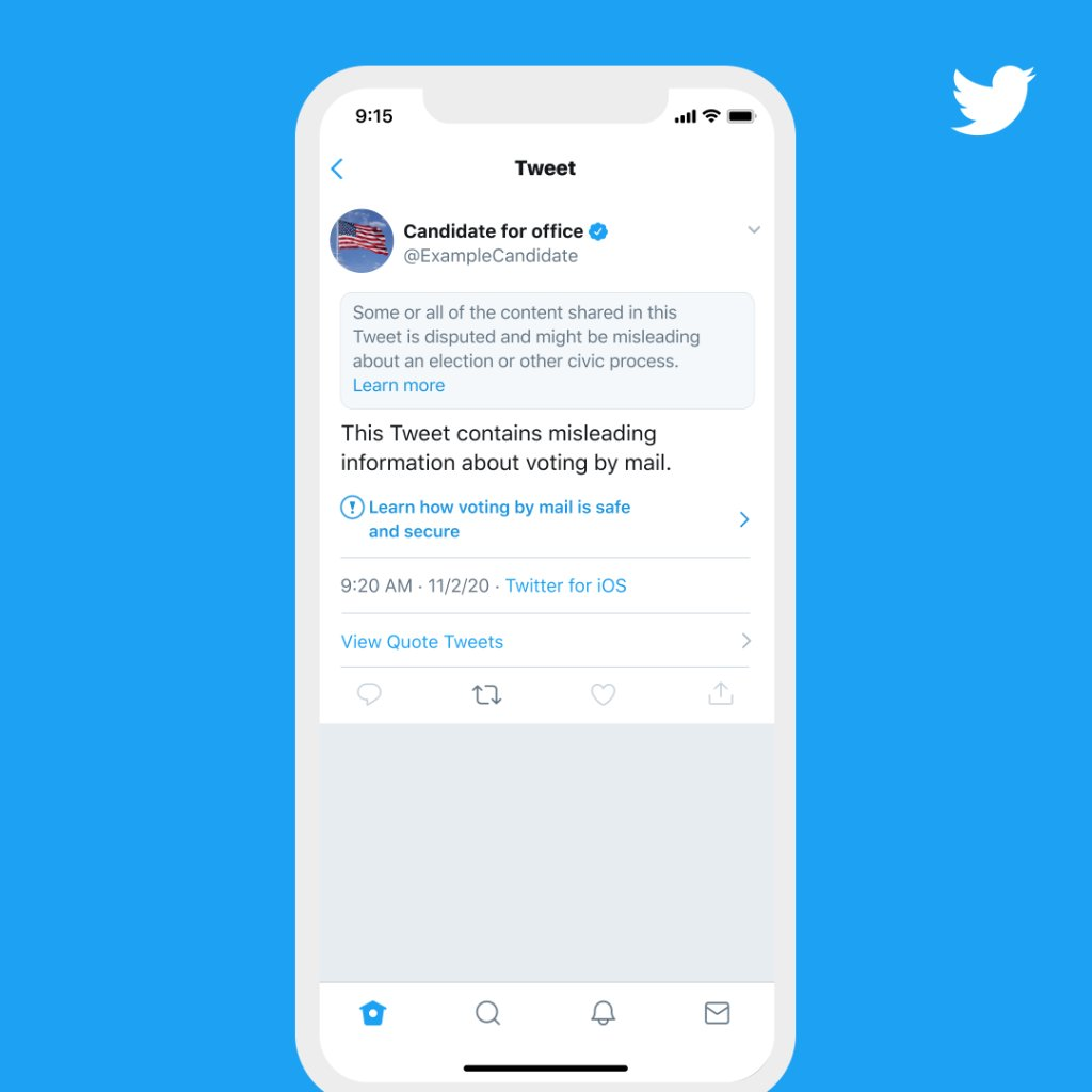 If we see content inciting interference with the election, encouraging violent action or other physical harms, we may take additional measures, such as adding a warning or requiring the removal of Tweets.