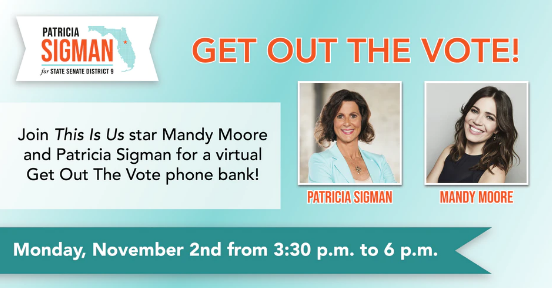Our virtual phonebank with @TheMandyMoore is today at 3:30pm!  Please join us as we make calls to get out the #vote for #ElectionDay!  #UniteforChange #FlaPol