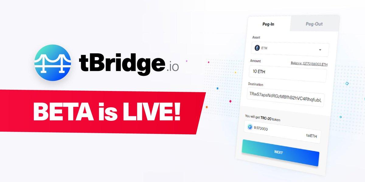 Dear community, Our team is happy to announce that tBridge.io BETA is Live! 🥳 Enjoy the bridge between blockchains!