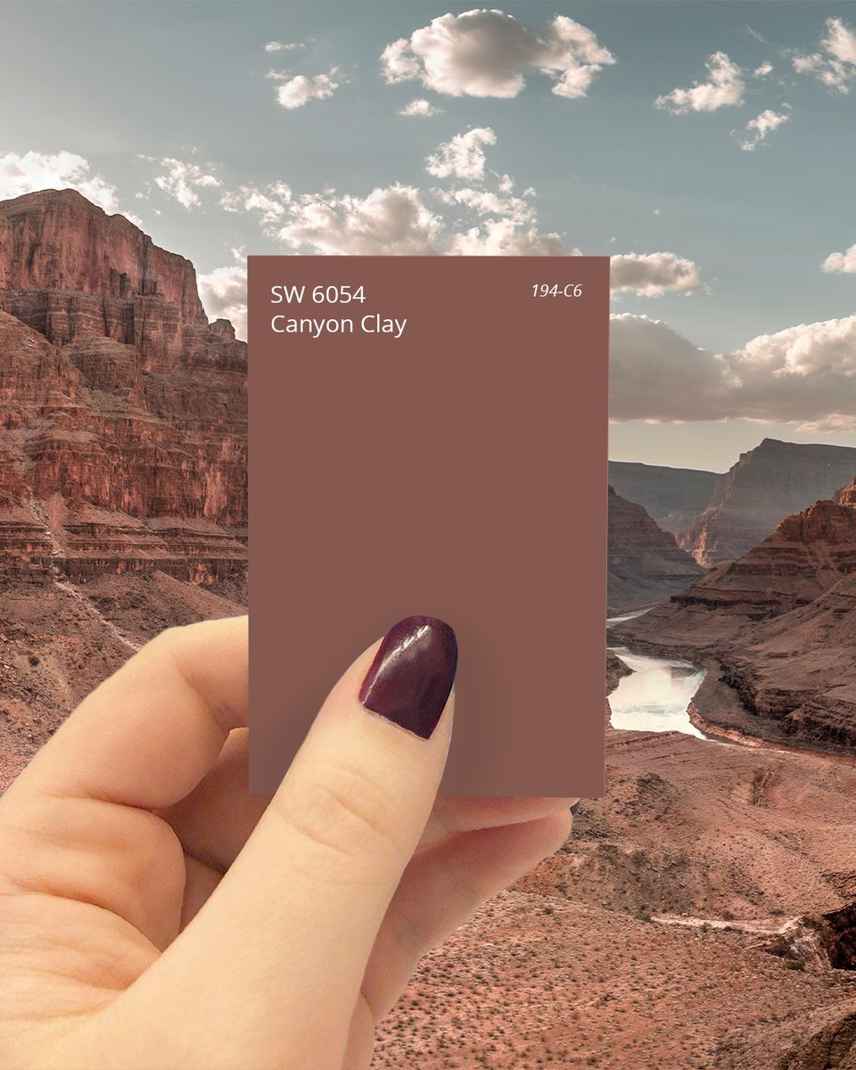 Enjoy the view (inside or out) courtesy of our November Color of the Month. 😎 To start your painting project adventure, order up to 10 FREE color chips, including Canyon Clay SW 6054: https://t.co/4rF30XwVo5 #sherwinwilliams #colorofthemonth #color #inspiration https://t.co/w6K2pTJ1gd