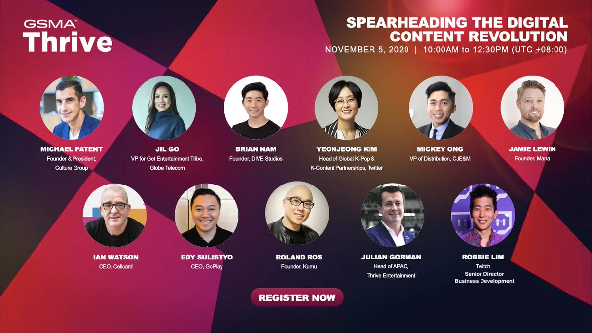 "Tune in this Thursday for our Head of Global K-Pop Partnerships @TheNolja's discussion with other panelists on ""The Rise of Culture"" at #GSMAThrive APAC.  🗓️ 5 Nov 2020 🕙 10:00am SGT 🔗 Register here:"