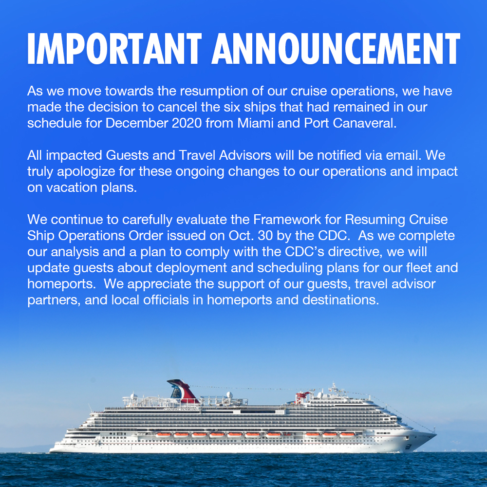 Important update regarding sailings out of PortMiami and Port Canaveral for December 2020.
