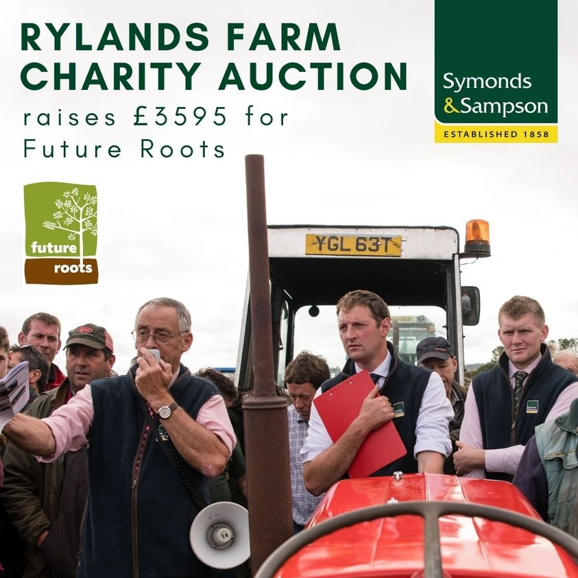 """Mark Northcott, head of Symonds & Sampson Farm Dispersal Sales was delighted to hand over a cheque for £3595.00 to James & Julie of Future Roots Charity at Holnest following another very successful auction at Rylands Farm.   we look forward to doing it again next year!"""""""