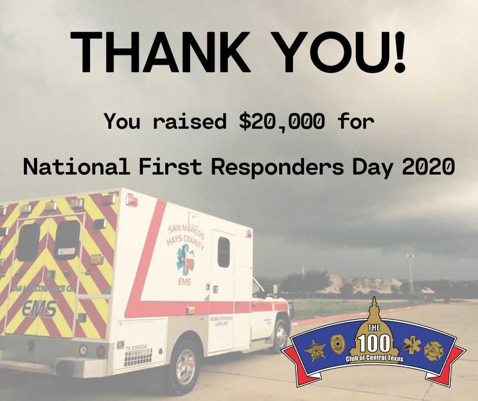 We did the math and you helped us raise over $20,000 in the month of October for #FirstRespondersDay! Your support is essential in our ability to stand ready for those who stand ready for us. THANK YOU!