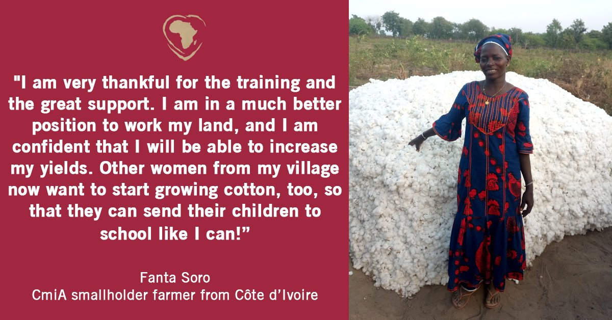 Supporting female #cottonfarmers in rural #Africa is a key responsibility for #CmiA. 18 percent of all #farmers participating in the #CmiA programme are women. One of these women is Fanta Soro. Read her full story here:  #sustainable #womenempowerment
