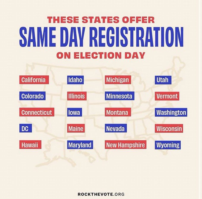 2 pic. Please go out and VOTE! Every vote counts ! Some states offer same day registration! https://t