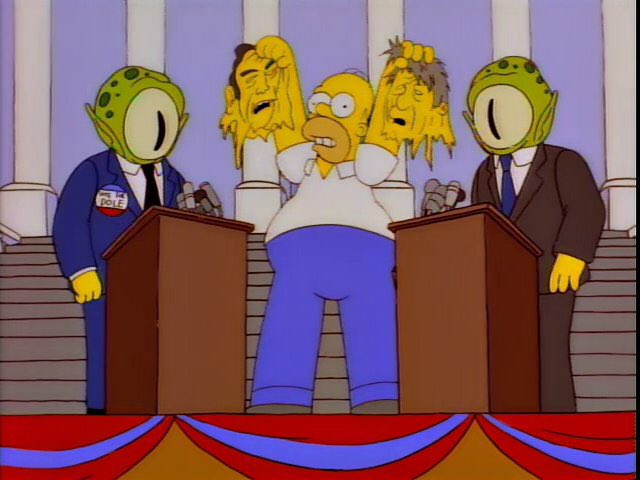 """""""America! Take a good look at your beloved candidates. They're nothing but hideous space reptiles"""""""