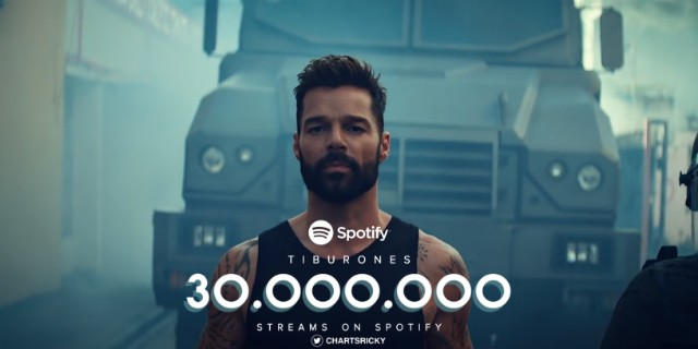 """""""Tiburones"""" by @Ricky_Martin has now surpassed 30 million streams on Spotify! 🦈 • Also """"Tiburones - Remix"""" with @FarrukoOfficial has reached 17.5 million streams on the platform."""