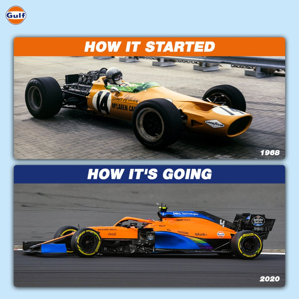 And we lived happily ever after. 🧡💙  #GulfOilInternational #GulfOil #GulfXMcLaren #McLaren #HowItStartedVsHowItsGoing #HowItStarted